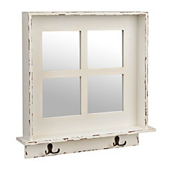 Distressed White Windowpane Mirror with Hooks
