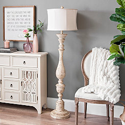 Distressed Cream Spindle Floor Lamp