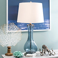 Blue Smoke Glass Table Lamp