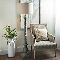 Weathered Gray Cylinders Floor Lamp