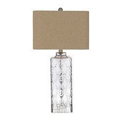 Gray Embossed Glass Table Lamp