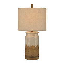 Whitewashed Ceramic Pine Table Lamp