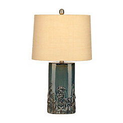 Blue Embossed Coastal Table Lamp