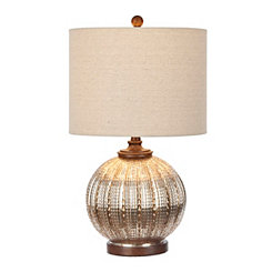 Gold Mercury Glass Rounded Table Lamp