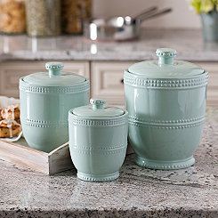 Blue Bianca Bead Canisters, Set of 3