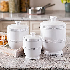 White Bianca Bead Canisters, Set of 3