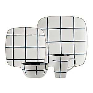 Blue and White Squares 16-pc. Dinnerware Set
