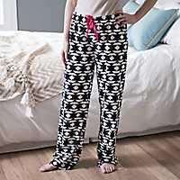 Terry Plush Patterned Pajama Pants
