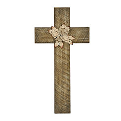 Natural Cross Plaque with Metal Bouquet
