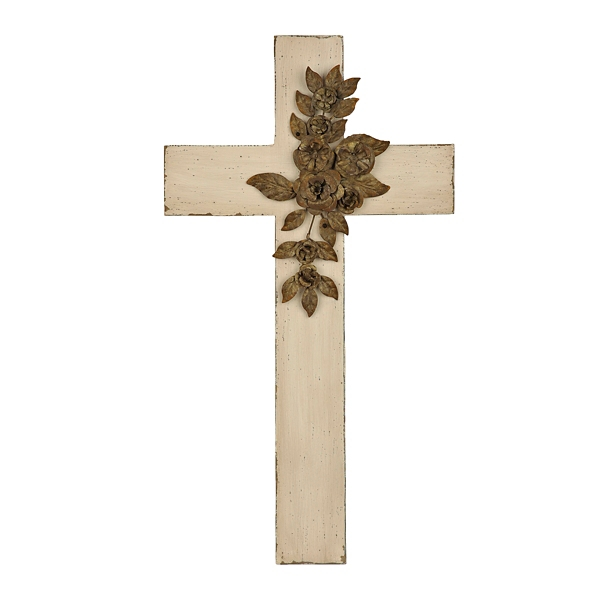 White Cross Plaque With Metal Bouquet