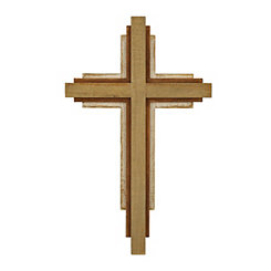 Natural Stacked Wood Cross Plaque