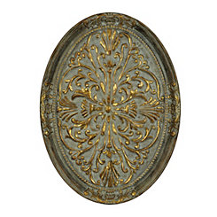 Gold Ornate Oval Metal Wall Plaque