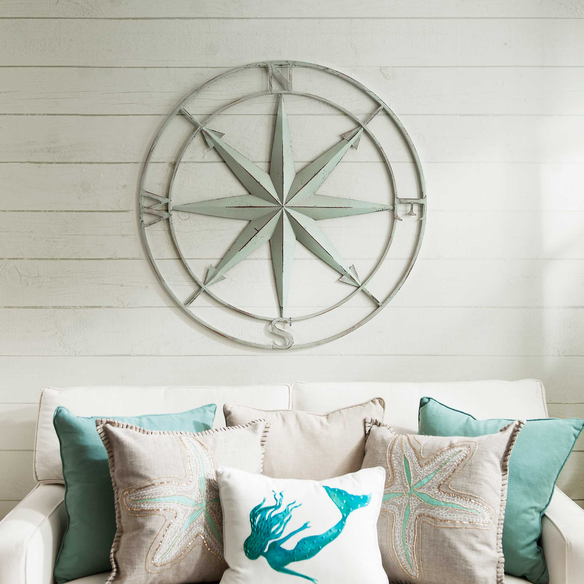 Metal Wall Decor Clearance : Distressed blue compass wall plaque kirklands