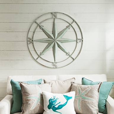 distressed blue compass wall plaque - Coastal Decor