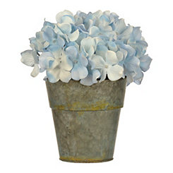 Blue Hydrangea Arrangement in Gray Pot Planter