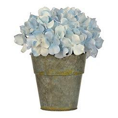 Blue Hydrangea Arrangement in Gray Pot Planter