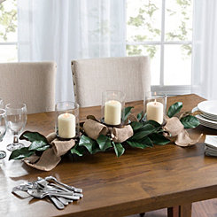 Magnolia Leaf and Burlap Centerpiece