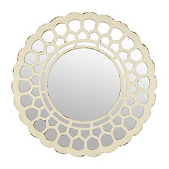 Distressed White Penny Wall Mirror