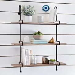 Wooden Slatpipe Shelf