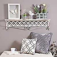 Distressed Cream Carved Clover Metal Shelf