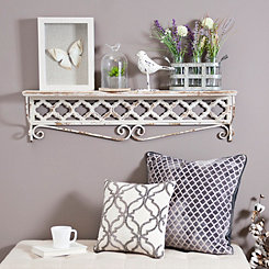 Distressed Cream Carved Clover Metal Shelf
