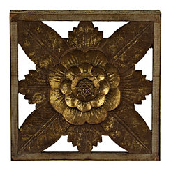 Ornate Carved Floral Wall Plaque