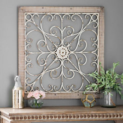 Daphne Ornate Scroll Wood and Metal Wall Plaque