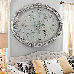 White Wash Oval Wall Plaque