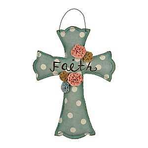 Turquoise Burlap Faith Cross