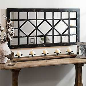 Distressed Black Marquis Decorative Mirror