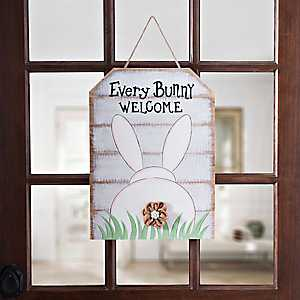 Every Bunny Welcome Wood Plank Plaque