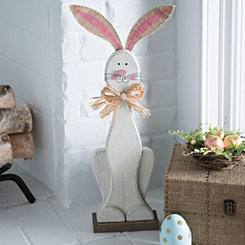 Distressed Wood Bunny Statue