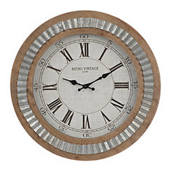 Silas Galvanized Wooden Wall Clock
