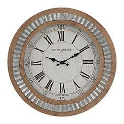 Silas Galvanized Wooden Wall Clock