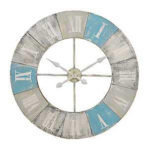 Blue Shores Distressed Wood Clock