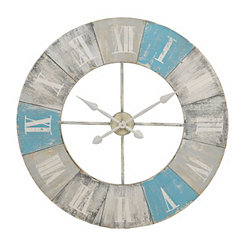 Blue Shores Distressed Wood Clock