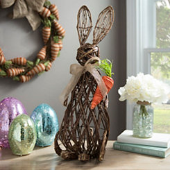 Rattan Bunny and Carrot Statue