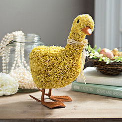 Yellow Raffia Duck Figurine, 12 in.