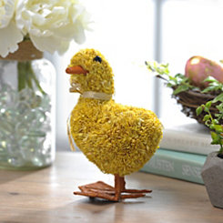 Yellow Raffia Duck Figurine, 7 in.