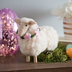 White Felt Sheep Figurine