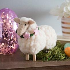 White Felt Sheep Figurine