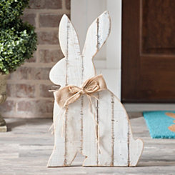 White Barnwood Bunny Sign