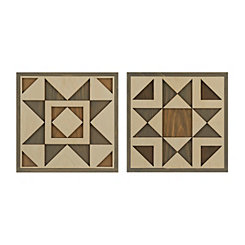 Faux Quilt Cutout Wood Wall Plaque Set