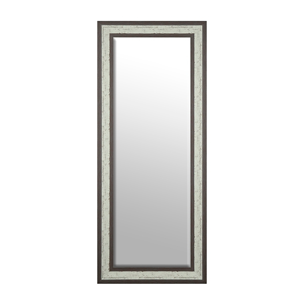 Espresso And White Framed Mirror