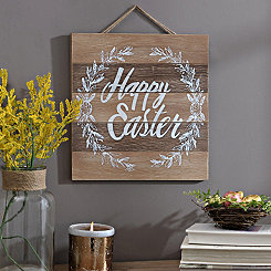 Happy Easter Laurel Wreath Wood Plank Plaque