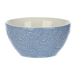 Blue Embossed Floral Bowls, Set of 2