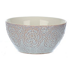 Cream Embossed Floral Bowls, Set of 2