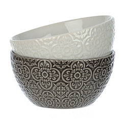 Black and White Medallion Bowls, Set of 2