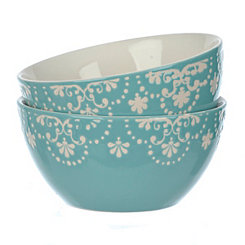 Teal Pearl Bowls, Set of 2