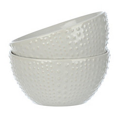 White Dot Ceramic Bowls, Set of 2